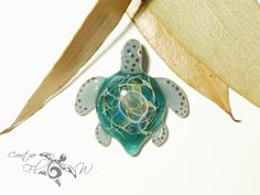 Ocean Blue Baby Turtle Pendant  Glass Pendant by CreativeFlowGlass
