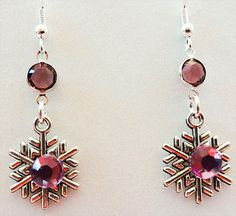 1124 - Snowflake earrings, Christmas earrings, holiday earrings, snowflake jewelry, Christmas jewelry, holiday jewelry, snowflake charm,Xmas by EarringsBraceletsEtc on Etsy