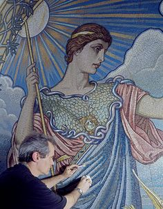Second Floor, East Corridor. Mosaic of Minerva by Elihu Vedder, with restorer at work. Library of Congress Thomas Jefferson Building, Washington, D.C. (LOC) by The Library of Congress, via Flickr