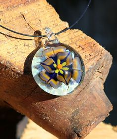 Glass Flower Pendant Glass necklace Flower by DirtRoadDesignsGlass