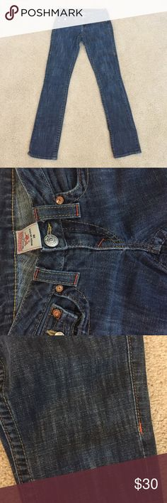 TRUE RELIGION Johnny Straight Leg Jeans True Religion Straight Leg Jeans. Has a cool dark wash, buttoned back pockets & in great condition. Low rise with a bit of stretch. True Religion Jeans Straight Leg