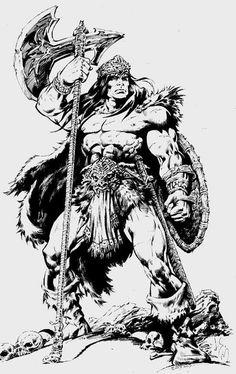 Comic Book Artists, Comic Book Characters, Comic Artist, Comic Books Art, Conan The Barbarian Comic, Barbarian King, Fantasy Warrior, Fantasy Art, Conan O Barbaro