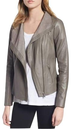 324ab52fbf770 Trouvé Gray Raw Trim Leather Moto Motorcycle Jacket Size 4 (S) - Tradesy  Moto