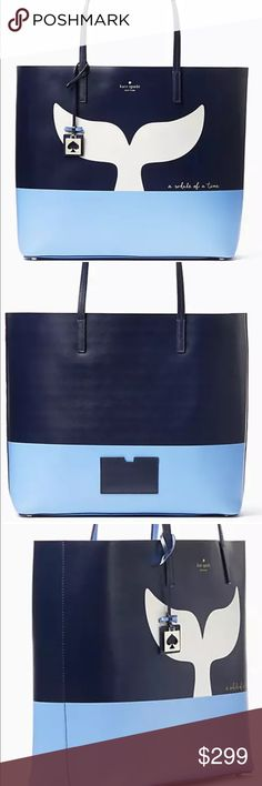 """NWT Kate Spade off we go whale len tote Resin backed smooth leather with matching trim, unlined, tote with open top, interior zipper pocket and slide pocket, detachable luggage tag, gold foil printed kate spade new york signature. 13.5""""hx14.8""""wx6.2""""d. Drop length 7.9"""".  Please do not bundle this item - thank you! kate spade Bags Totes"""