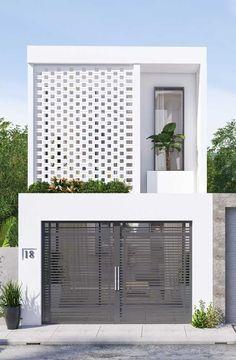 Minimal House Design, Modern Small House Design, Narrow House Designs, Dream Home Design, Modern House Plans, 3 Storey House Design, House Front Design, Design Exterior, Facade Design