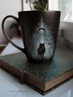 Magical Wolf under the Cosmos coffee mug - beautiful!