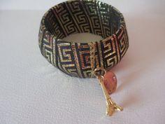 Ribbon Wrapped Med. Bangle Bracelet Black Gold by audreymivey, $22.00