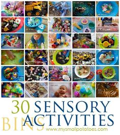 30 Sensory Bin Activities for Kids: Stimulating the senses stimulates the brain! Great ideas here.