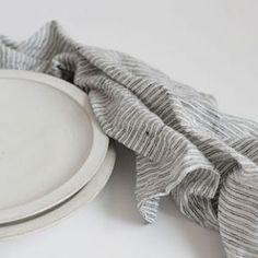 Fog Linen Work Tea Towel Black White Stripe