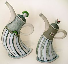 Ceramic: Leaning Teapots by  HENNIE MEYER