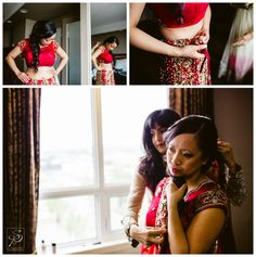 Bride putting on traditional East Indian Sari for her wedding in Calgary AB. For more multicultural weddings, check out our blog: www.sujataphotography.com/blog