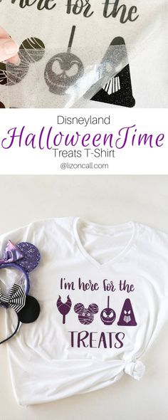 Titled pinnable image of Halloween time treats at Disneyland in black and purple glittered vinyl Halloween Time At Disneyland, Disney Halloween Shirts, Disney's Halloween Treat, Halloween Images, Disney Diy, Disney Crafts, Vinyl Crafts, Vinyl Projects, Cricut Tutorials