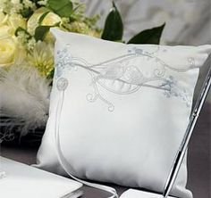 So sweet and beautifully designed, the Love Birds in Classic White Ring Bearer Pillow features embroidered lovebirds nesting on tree branches. Each ring pillow measures 8 inches square and is made of white satin and light blue and grey embroidery thread. Ring Pillow Wedding, Wedding Garter Set, Wedding Pillows, Wedding Ring, Wedding Ceremony, Wedding Favors, Ring Bearer Pillows, Ring Pillows, Wedding Symbols