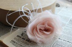 Bridal flower feather fascinator in blush by NostalgiaAtHighTea, $49.00