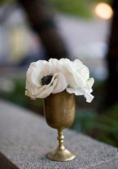 "Anemone flowers vintage centerpiece wedding decor white reception gold ""the stylish soiree""  photo by: Meg Perotti  vendor: The Stylish Soiree"
