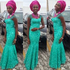 Green Lace dress with Pink Gele and Pink jewelry