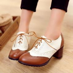 Womens Brogue Pumps Block Mid Heel Oxfords Wing Tip Lace Up Shoes Casual Shoes in Clothing, Shoes & Accessories, Women's Shoes, Heels Oxford Shoes Heels, Women Oxford Shoes, Pump Shoes, Shoe Boots, Women's Shoes, Ankle Boots, Shoes High Heels, 70s Shoes, Dance Shoes