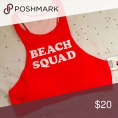 VS PINK Beach Squad Halter Bikini Top VS PINK BEACH SQUAD HALTER BIKINI TOP •Super cute! •NWT✨ •Size medium •Matches various bottoms! •Fast Shipping! •Any questions? Ask away! Happy Poshing!😘     Related: VS, VSX, Victoria's Secret, PINK, swim, Bikini, swimsuits, bathing suit, beachwear, swimwear, two piece, one piece, follow me, follow game 🚫NO TRADES🚫 PINK Victoria's Secret Swim Bikinis