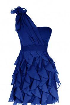 Ruffle Dress,  Dress, One Shoulder Dress  Blue dress, Chic