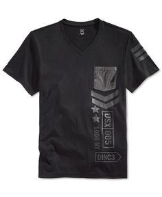 INC Graphic Print V Neck T Shirt White Mens Large New