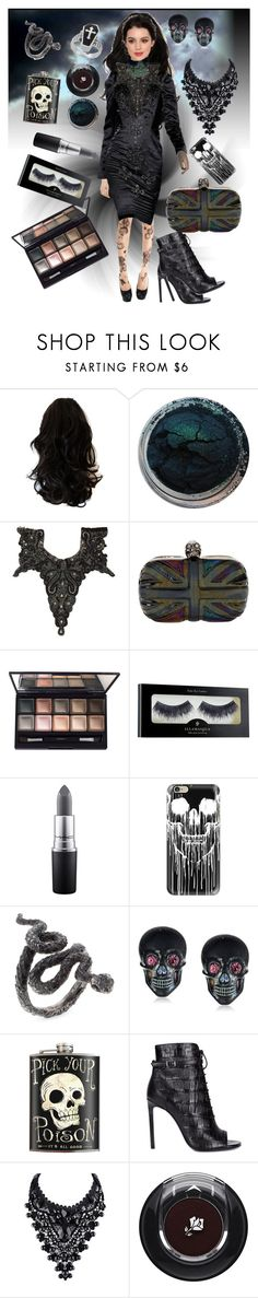 """""""Gothic Party Look"""" by slytherin-pirate-chick ❤ liked on Polyvore featuring Kane, Haute Hippie, By Terry, Illamasqua, MAC Cosmetics, Casetify, Tarina Tarantino, Yves Saint Laurent, Posh Girl and Lancôme"""