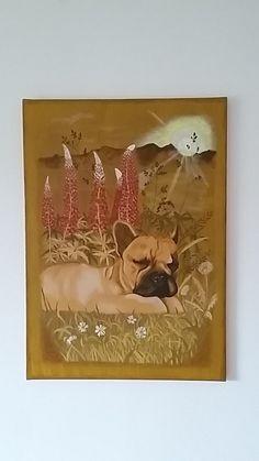 FRENCH BULLDOG  Acrylic colours, original, 50x70cm Acrylic Colors, Spikes, French Bulldog, Colours, The Originals, Frame, Painting, Home Decor, Cnd Nails