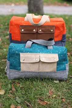 Cargo duffle bags. These are seriously cute. I'd love a slightly smaller version for dance class...