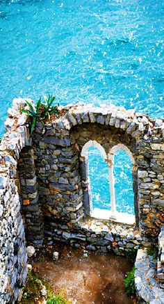 Ruins of Doria Castle in Portovenere, Italy along the Mediterranean Sea Coastline