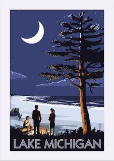 Lake Michigan - Bonfire at Night Scene - Lantern Press Artwork (12x18 Giclee Art Print, Gallery Framed, White Wood), Multi