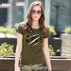 Summer Fashion Ladies Tshirts Tops Womens Army Green O Neck Cotton Brand T-Shirt Cotton Plus Size Women Clothing Gs-8557A | An Official Army Closet Online Store