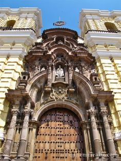 Beautiful facade of Monasterio de San Francisco in Lima, Peru.