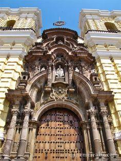 Beautiful facade of Monasterio de San Francisco in Lima, Peru.