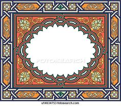 Clipart of Red, orange, gold and blue Horizontal rectangle Arabesque frame u14634753 - Search Clip Art, Illustration Murals, Drawings and Vector EPS Graphics Images - u14634753.eps