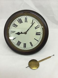 wall clock industrial metal school train station double dual sided antique mahogany cased fusee dial clock station clock railway