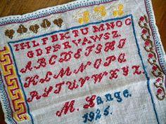 Vintage Sampler 1925 Embroidered ABC Linen Signed Dated Red Blue  // Country Cottage Primitive Linen