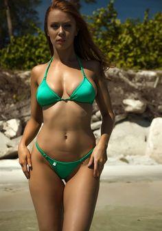 Classic Enhanced Cut Triangle Bikini Top in Shimmering Kelly Green - TeenyB Bikini Couture