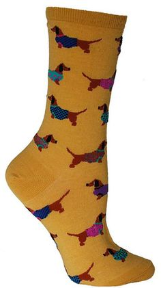If 'couture' is your middle name, look no further. Wag your tail with enjoyment by slipping on these colorful dachshund socks adorned with sweaters in either mimosa yellow or blue lagoon. Funky Socks, Crazy Socks, Cute Socks, Silly Socks, Awesome Socks, Gamine Style, Dachshund Love, Daschund, Dog Socks