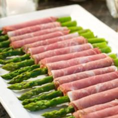Prosciutto-wrapped asparagus is a colorful and elegant finger food that won't take hours to prepare. Recipe from Recipe.com, found at www.edamam.com