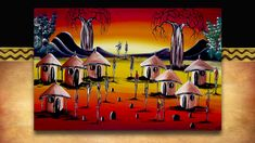 African Art - village sunset. Original acrylic on canvass street art from South Africa. See the full range plus 3000 other African products on our website www.earthafricacurio.com. Please also watch our YouTube videos. Art Village, African Art, South Africa, Street Art, Range, Sunset, Website, Watch, Videos