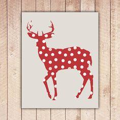 Red Polka Dot Deer druckbare Kunstdruck, Instant Download, Home Decor, Wandkunst, Jagd-Dekor