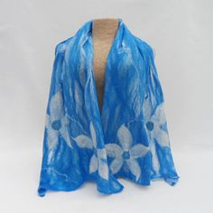Nuno felted scarf, wool on silk, blue with flower detail £20.00