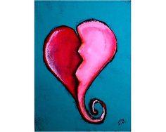 """BROKEN HEART """" Original Outsider Folk Art Painting By Joan Sturtevant"""