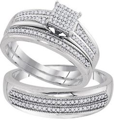 New BrianG | Micro Pave Diamond Engagement Collection 10k White Gold 0.50 Cttw Diamond Miro-pave Wedding Band Engagement Ring Trio Set