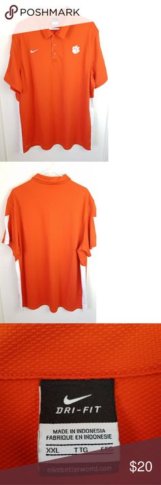"""Dri-fit Nike Mens Short Sleeve Shirt Size XXL Classic collar. Nike symbol on right front.  A paw print on the left front. Button neck.  Chest width 25"""".  Shirt length 31"""". Orange color. Dri-fit Nike Shirts Polos"""