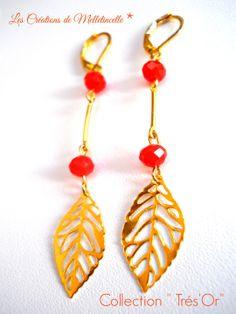 """Boucles d'oreille longues dorées """" Trés'Or d'été """" feuillle filigranée dorée ,perles de verre à facette orangée ,tiges intercalaires : Boucles d'oreille par les-creations-de-melletincelle"""