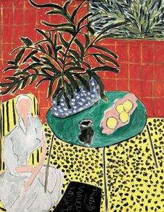 Painting by Henri Matisse (1869-1954), 1948, Interior with Black Fern, Oil on canvas. #Interior