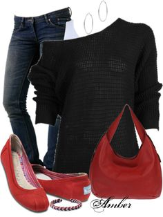"""Casual Red White and Black"" by stay-at-home-mom on Polyvore"