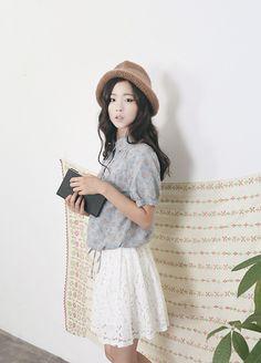 K fashion #hat #blouse #skirt