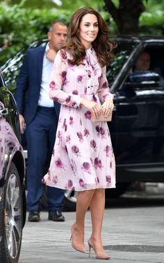Kate wore a pink floral dress by Kate Spade
