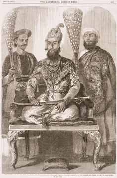 Mirza Fakhruddin, Bahadur Shah II, attended by his Treasurer and Physician